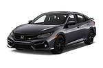 2020 Honda Civic-Si-Sedan Si 4 Door Sedan Angular Front automotive stock photos of front three quarter view