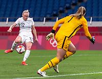 SAITAMA, JAPAN - JULY 24: Betsy Hassett #12 of New Zealand scores a goal during a game between New Zealand and USWNT at Saitama Stadium on July 24, 2021 in Saitama, Japan.