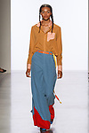 Model walks runway in an outfit by Jessie Sodetz, for the 2017 Pratt fashion show on May 4, 2017 at Spring Studios in New York City.