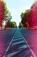 Milano, Corso Sempione. segni, tracce di pneumatici. Pellicola negativo colore scaduta --- Milan, Sempione Avenue. Signs of tires. Expired color negative film