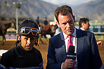September 27 2014: Jockey, Mike Smith is interviewed  after winning the Awesome Again Stakes with Shared Belief at Santa Anita Park in Arcadia CA. Alex Evers/ESW/CSM