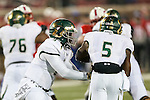 South Florida Bulls quarterback Quinton Flowers (9) and South Florida Bulls running back Marlon Mack (5) in action during the game between the South Florida Bulls and the SMU Mustangs at the Gerald J. Ford Stadium in Fort Worth, Texas. SMU leads USF 13 to 0 at halftime.