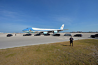 MIAMI, FL - FEBRUARY 25: U.S. President Barack Obama arrives on Air Force One at Miami International Airport  prior to his Immigration Town Hall meeting At FIU on February 25, 2015 in Miami, Florida .