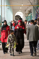 Tripoli, Libya - Women Shoppers, Rashid Street Market.  Virtually all Libyan Women wear scarves.