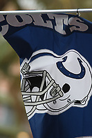 Fahne der Colts auf der NFL Fanmeile am Ocean Drive in Miami Beach<br /> NFL Fan Jam, Miami Beach *** Local Caption *** Foto ist honorarpflichtig! zzgl. gesetzl. MwSt. Auf Anfrage in hoeherer Qualitaet/Aufloesung. Belegexemplar an: Marc Schueler, Alte Weinstrasse 1, 61352 Bad Homburg, Tel. +49 (0) 151 11 65 49 88, www.gameday-mediaservices.de. Email: marc.schueler@gameday-mediaservices.de, Bankverbindung: Volksbank Bergstrasse, Kto.: 52137306, BLZ: 50890000