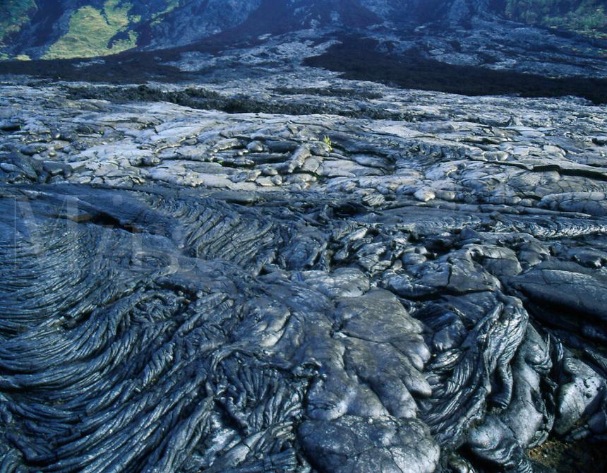Patterns in pahoehoe lava. Hawaii Volcanoes National Park, Island of Hawaii.