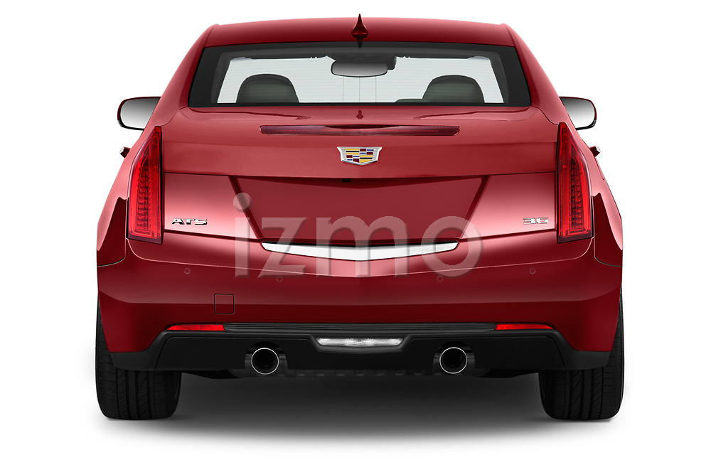 Straight rear view of a 2015 Cadillac ATS 2.5L Standard RWD 4 Door Sedan Rear View  stock images