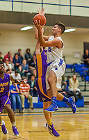 22 November 2015: Yeshiva University Maccabee Forward Michael Hayon, a Freshman from Los Angeles, CA, jumps for a shot in the first half against the Hunter College Hawks at the Max Stern Athletic Center  in New York, NY. The Maccabees defeated the Hawks 81-71 in non-conference play, for their second win of the season. Mandatory Credit: Ed Wolfstein Photo *** RAW (NEF) Image File Available ***