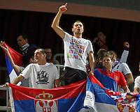 "Serbia`s national basketball team supporters during European basketball championship ""Eurobasket 2013"" quarter-final basketball game between Serbia and Spain in Stozice Arena in Ljubljana, Slovenia, on September 18. 2013. (credit: Pedja Milosavljevic  / thepedja@gmail.com / +381641260959)"
