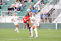 CARY, NC - APRIL 10: Ashley Hatch #33 of the Washington Spirit and Schuyler Debree #15 of the North Carolina Courage watch the ball during a game between Washington Spirit and North Carolina Courage at Sahlen's Stadium at WakeMed Soccer Park on April 10, 2021 in Cary, North Carolina.