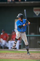 Akron RubberDucks center fielder Andrew Calica (15) at bat during a game against the Harrisburg Senators on August 18, 2018 at FNB Field in Harrisburg, Pennsylvania.  Akron defeated Harrisburg 5-1.  (Mike Janes/Four Seam Images)