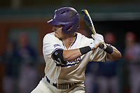 Tom Brosnahan (30) of the Western Carolina Catamounts at bat against the St. John's Red Storm at Childress Field on March 13, 2021 in Cullowhee, North Carolina. (Brian Westerholt/Four Seam Images)