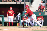 Jeremy Martinez (2) of the Southern California Trojans bats during a game against the Oregon Ducks at Dedeaux Field on April 18, 2015 in Los Angeles, California. Oregon defeated Southern California, 15-4. (Larry Goren/Four Seam Images)