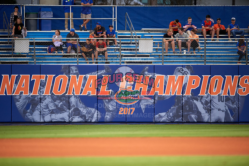 Florida Gators National Championship banner before a game against the Siena Saints on February 16, 2018 at Alfred A. McKethan Stadium in Gainesville, Florida.  Florida defeated Siena 7-1.  (Mike Janes/Four Seam Images)