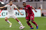 Assim Madibo of Qatar (R) fights for the ball with Walid Abbas Murad of United Arab Emirates (R) during the AFC Asian Cup UAE 2019 Semi Finals match between Qatar (QAT) and United Arab Emirates (UAE) at Mohammed Bin Zaied Stadium  on 29 January 2019 in Abu Dhabi, United Arab Emirates. Photo by Marcio Rodrigo Machado / Power Sport Images