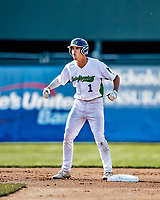 12 June 2021: Vermont Lake Monsters outfielder Andrew Bergeron, from Ponte Verda Beach, FL, in action against the Westfield Starfires at Centennial Field in Burlington, Vermont. The Lake Monsters defeated the Starfires 4-1 at Centennial Field, in Burlington, Vermont. Mandatory Credit: Ed Wolfstein Photo *** RAW (NEF) Image File Available ***