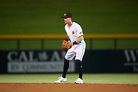 Mesa Solar Sox second baseman Ernie Clement (1), of the Cleveland Indians organization, during an Arizona Fall League game against the Peoria Javelinas on September 21, 2019 at Sloan Park in Mesa, Arizona. Mesa defeated Peoria 4-1. (Zachary Lucy/Four Seam Images)
