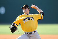 Relief pitcher Will Kendall (47) of the West Virginia Power in a game against the Greenville Drive on Sunday, May 11, 2014, at Fluor Field at the West End in Greenville, South Carolina. Greenville won, 9-6. (Tom Priddy/Four Seam Images)