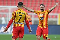 Giulio Donati of US Lecce celebrates with Fabio Lucioni after scoring the goal of 2-2 <br /> Lecce 01-03-2020 Stadio Via del Mare <br /> Football Serie A 2019/2020 <br /> US Lecce - Atalanta BC<br /> Photo Carmelo Imbesi / Insidefoto