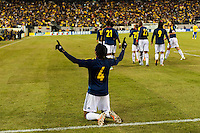 Juan Guillermo Cuadrado (4) of Colombia celebrates scoring during the first half of an international friendly between Colombia (COL) and Brazil (BRA) at MetLife Stadium in East Rutherford, NJ, on November 14, 2012.