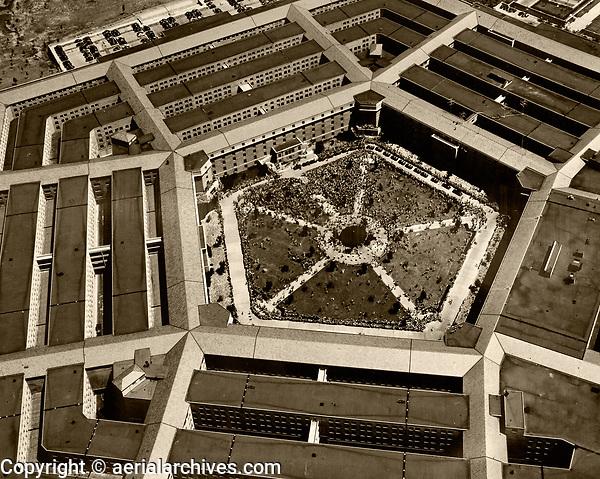 historical aerial photograph Dwight Eisenhowever reception, Pentagon, 1945