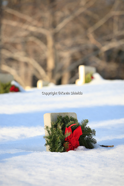 Winter view of Togus National Cemetery (West), Togus VA Medical Center, Augusta, Maine, USA