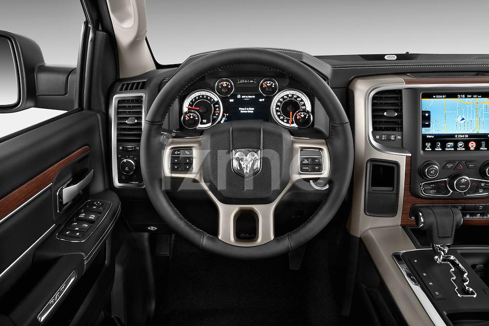 Steering wheel view of a 2013 Dodge Ram Quad Cab Laramie