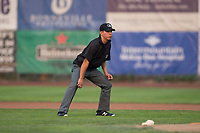 Field umpire Rene Gallegos during a Pioneer League game between the Ogden Raptors and the Great Falls Voyagers at Lindquist Field on August 23, 2018 in Ogden, Utah. The Ogden Raptors defeated the Great Falls Voyagers by a score of 8-7. (Zachary Lucy/Four Seam Images)