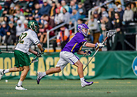 6 April 2019:  University at Albany Great Dane Defender Connor Filipowski, a Junior from Warwick, NY, in action against the University of Vermont Catamounts at Virtue Field in Burlington, Vermont. The Cats rallied to defeat the Danes 10-9 in America East divisional play. Mandatory Credit: Ed Wolfstein Photo *** RAW (NEF) Image File Available ***