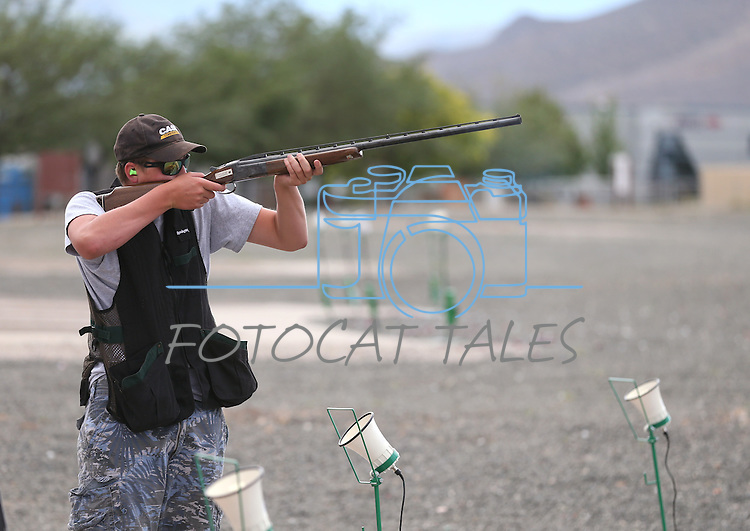 Weston Swift, 13, practices at the Capital City Gun Club, in Carson City, Nev., on Friday, July 11, 2014.<br /> Photo by Cathleen Allison