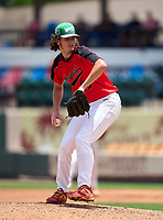 Northeast Vikings pitcher Sean Melanson (25) during the 42nd Annual FACA All-Star Baseball Classic on June 6, 2021 at Joker Marchant Stadium in Lakeland, Florida.  (Mike Janes/Four Seam Images)