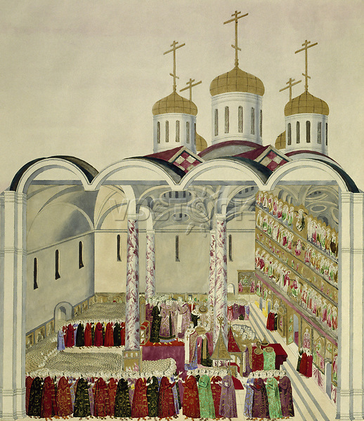 The Coronation of the Tsar Mikhail Feodorovich (Michael I) in the Moscow Kremlin on 11th July 1613<br /> Artist:Anonymous<br /> Museum:Russian State Library, Moscow<br /> Method:Watercolour on parchment<br /> Created:1810<br /> School:Russia<br /> Category:History<br /> Tsar's Family. House of Romanov