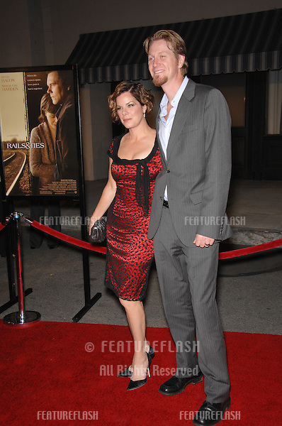 """Marcia Gay Harden & date at the Los Angeles premiere of her new movie """"Rails & Ties"""" at Warner Bros. Studios, Burbank, CA..October 24, 2007  Los Angeles, CA.Picture: Paul Smith / Featureflash"""