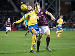 Hearts v St Johnstone…..14.12.19   Tynecastle   SPFL<br />Stevie May holds off Christophe Berra<br />Picture by Graeme Hart.<br />Copyright Perthshire Picture Agency<br />Tel: 01738 623350  Mobile: 07990 594431