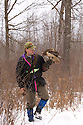 00432-028.15 Falconry (DIGITAL) Falconer hunts heavy cover with red-tailed hawk on fist during winter.  V6F1