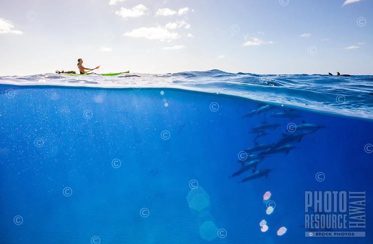 A woman kayaking amid a pod of spinner dolphins near Kahe Point, West O'ahu