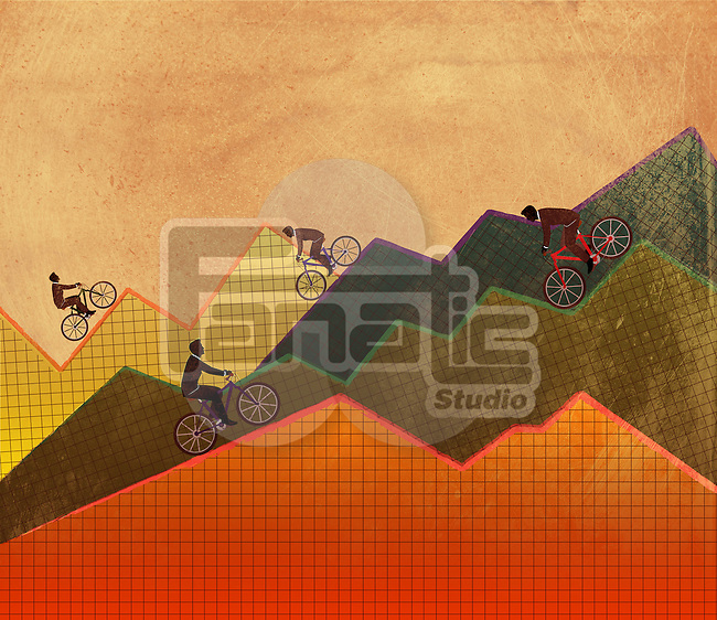 Illustrative concept of business people riding bicycle on graphs representing ups and downs of business