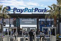 SAN JOSE, CA - APRIL 24: Pay Pal Park entrance during a game between FC Dallas and San Jose Earthquakes at PayPal Stadium on April 24, 2021 in San Jose, California.