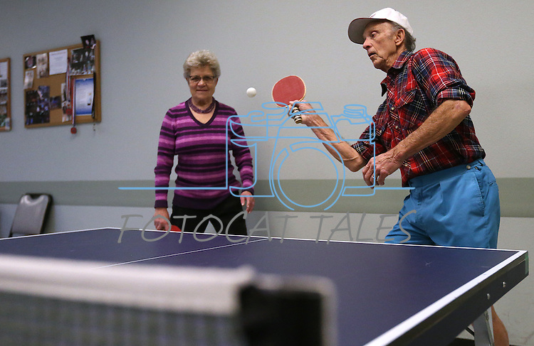Seniors practice for the Reno Tahoe Senior Games table tennis competition at the Carson City Senior Citizen Center in Carson City, Nev., on Friday, Jan. 29, 2016. <br /> Photo by Cathleen Allison