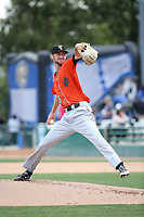 Austin Robichaux (36) of the Inland Empire 66ers pitches against the Rancho Cucamonga Quakes at LoanMart Field on May 7, 2017 in Rancho Cucamonga, California. Rancho Cucamonga defeated Inland Empire, 6-0. (Larry Goren/Four Seam Images)