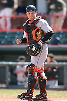 April 15th 2008:  Catcher Zach Dillon (32) of the Bowie Baysox, Class-AA affiliate of the Baltimore Orioles, during a game at Jerry Uht Park in Erie, PA.  Photo by:  Mike Janes/Four Seam Images