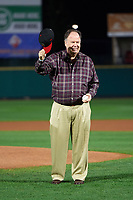 "Rochester Red Wings special guest, actor Dennis Haskins who portrayed High School Principal Richard Belding on the hit TV series ""Saved by the Bell"", acknowledges the crowd before throwing out the ceremonial first pitch before the second game of a doubleheader against the Scranton/Wilkes-Barre RailRiders on August 23, 2017 at Frontier Field in Rochester, New York.  Rochester defeated Scranton 1-0.  (Mike Janes/Four Seam Images)"