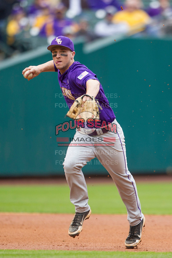 LSU Tigers shortstop Alex Bregman (8) prepares to make a running throw to first base during the NCAA baseball game against the Baylor Bears on March 7, 2015 in the Houston College Classic at Minute Maid Park in Houston, Texas. LSU defeated Baylor 2-0. (Andrew Woolley/Four Seam Images)