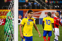 Luis Fernando Saritama (19) of Ecuador guards the near post. Ecuador defeated Chile 3-0 during an international friendly at Citi Field in Flushing, NY, on August 15, 2012.