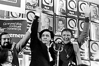 November 15 1976 File photo - Montreal , Quebec,  CANADA - Candidates of the Parti Quebecois celebrate the 1976 victory with the party leader Rene Levesque , November 15 1976 at Centre Paul Sauve.<br /> - Camille Laurin, Doris Lussier