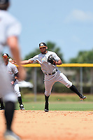 GCL Marlins shortstop Justin Twine (3) throws to first during a game against the GCL Nationals on June 28, 2014 at the Carl Barger Training Complex in Viera, Florida.  GCL Nationals defeated the GCL Marlins 5-0.  (Mike Janes/Four Seam Images)