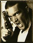 "Antonio Banderas photographed on the set of Robert Rodriguez film ""Desperado"" in Acuna, Mexico for Premiere Magazine"
