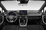 Stock photo of straight dashboard view of 2021 Toyota RAV4-Prime SE 5 Door SUV Dashboard