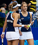 Karolina and Kristyna Pliskova at the Freedoms vs. Explorers WTT match in Villanova, PA on July 16, 2012