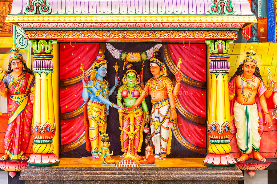 Batu Caves, Hindu Deities Line Wall of Temple at Base of Steps leading to Caves, Selangor, Malaysia.